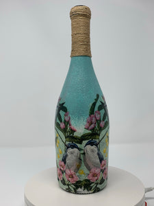 Decorative bottle - bird scene