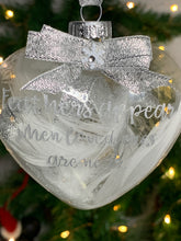 Load image into Gallery viewer, Christmas Tree heart - glass bauble - can be personalised
