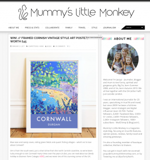 Leading Blog - Mummy's little Monkey features our vintage Style Art Posters