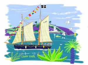 John Dyer draws the 'Spirit of Falmouth'