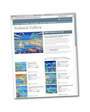 National Trust Trelissick Gallery launch Art Gallery Web site with John Dyer Exhibition