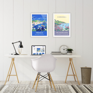 Wall art ideas for your Home Office. Boost productivity and wellbeing during the pandemic lockdown with Cornish art