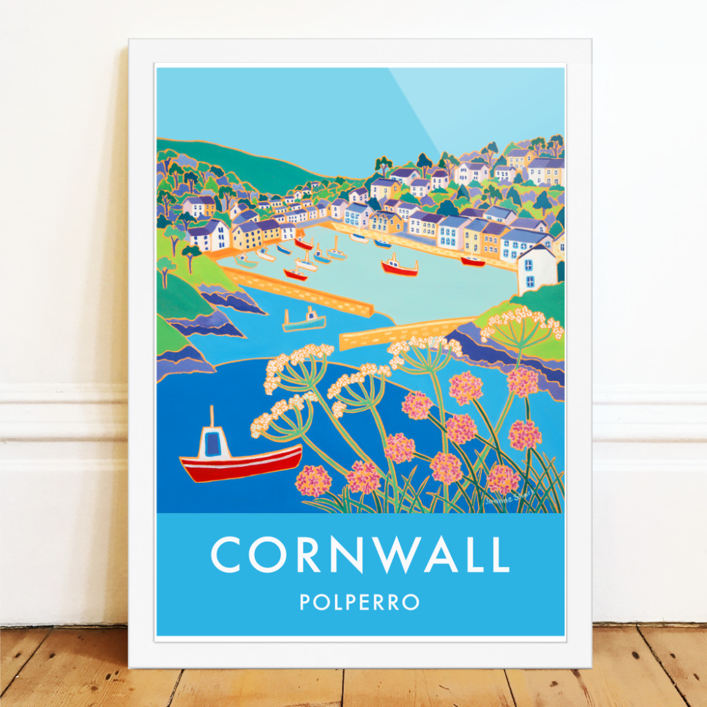 Vintage style seaside travel art pster of Polperro in Cornwall with fishing boats. By Joanne Short
