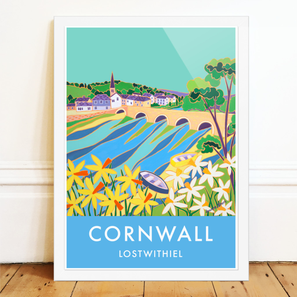Joanne Short art poster print of Lostwithiel in Cornwall with the river and yellow and white daffodils