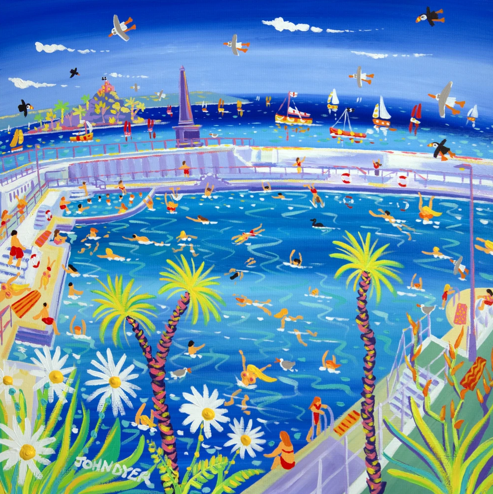 Jubillee Pool in Penzance captured on canvas in this painting by artist John Dyer.