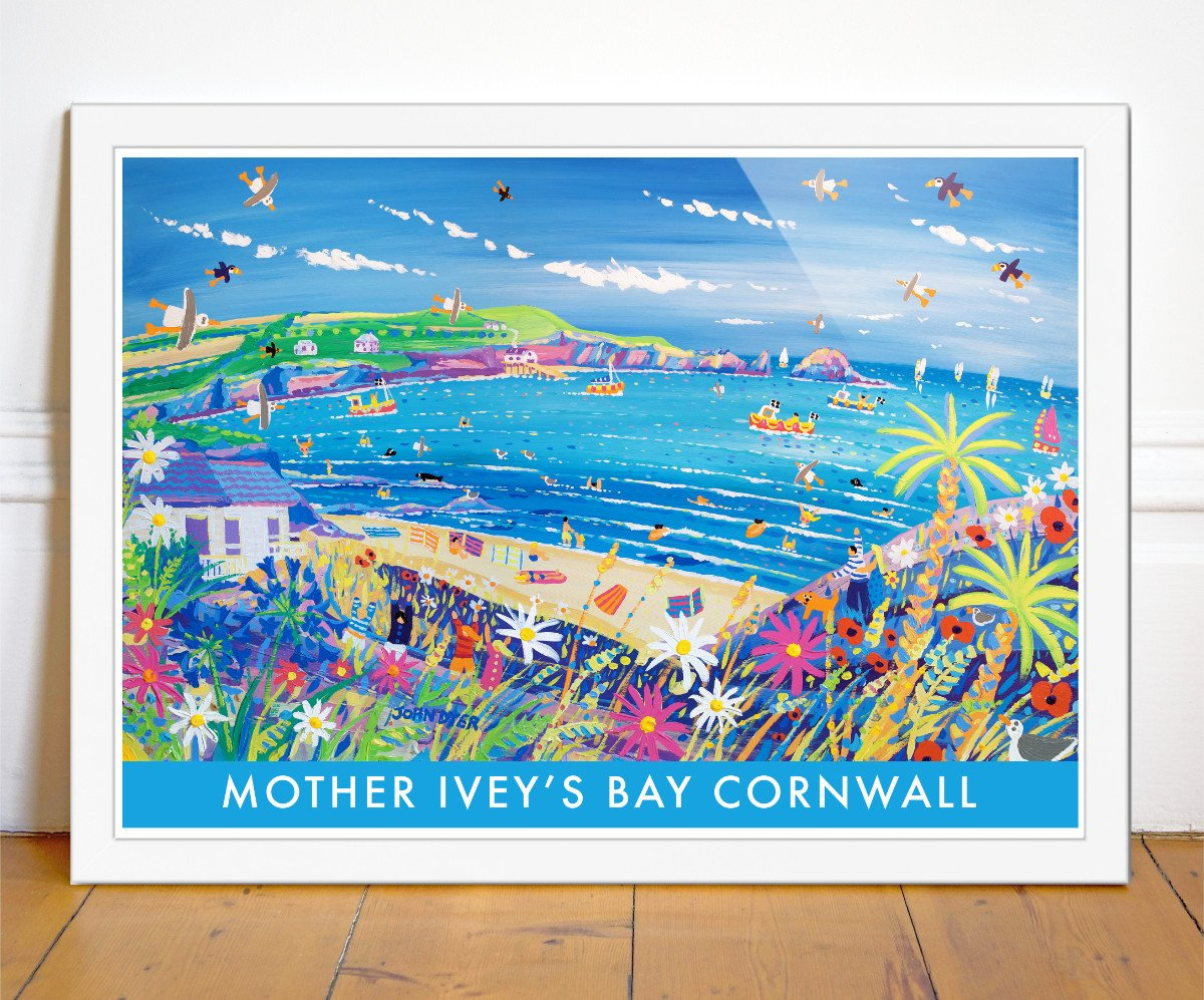 Mother Ivey's Bay art poster by John Dyer with surfers, camping, flowers, puffins, seals, fishing boats and waves