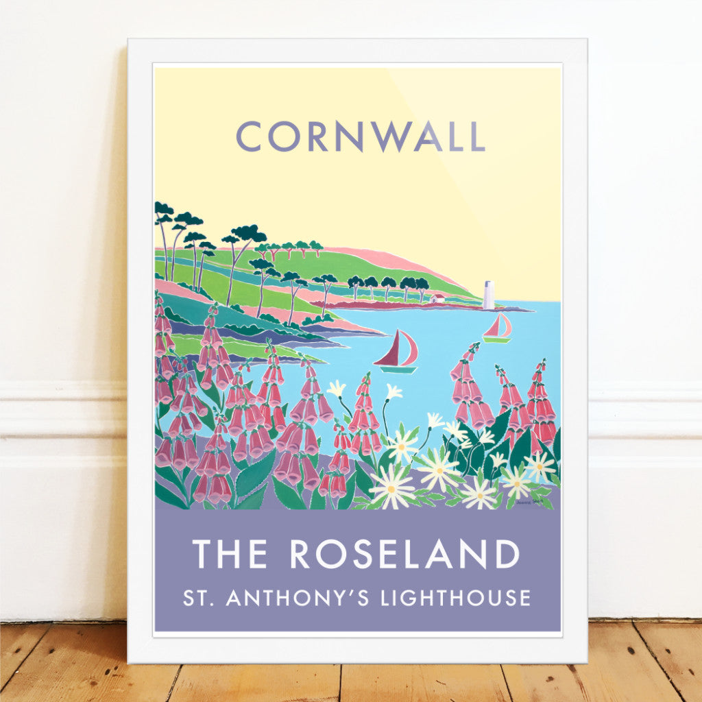 Vintage style travel art poster of the Roseland and St Anthony Lighthouse by Joanne Short