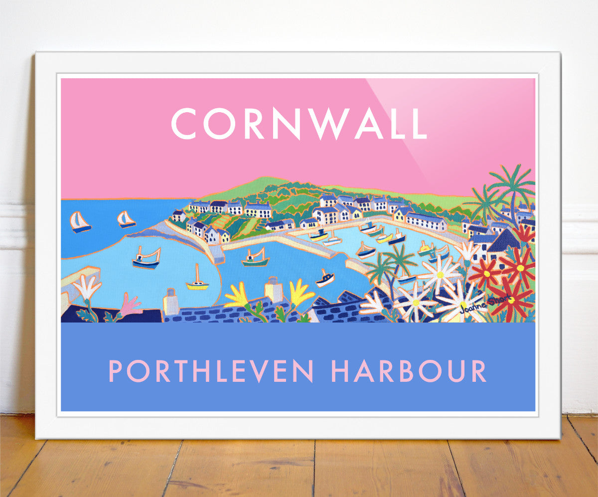 Travel art poster by Joanne Short of the Cornish fishing village of Porthleven harbour. Pink sky and fishing boats.