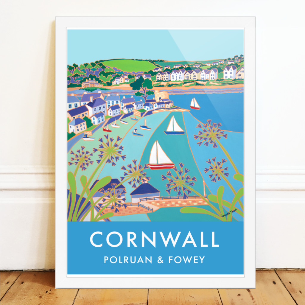 Vintage style seaside travle art pister of boats sailing into Polruan and Fowey by Joanne Short
