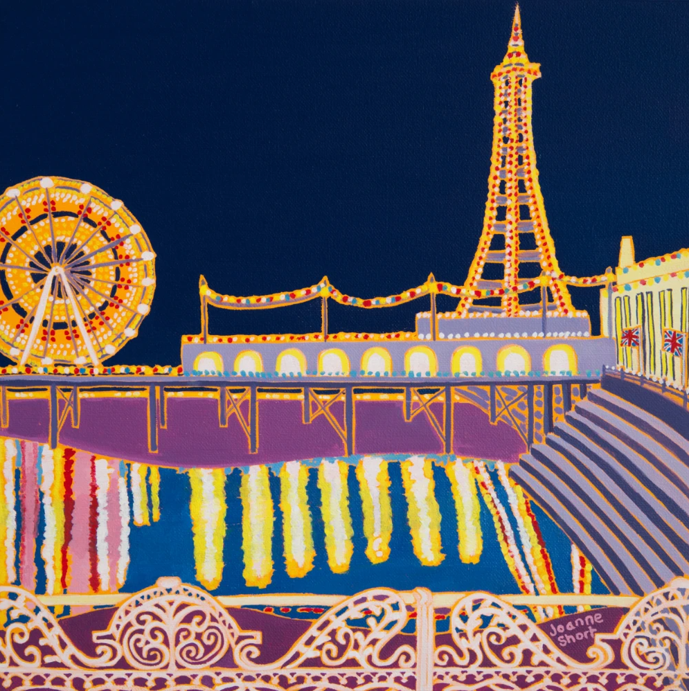 Joanne Short painting of the Blackpool illuminations and the tower from the pier