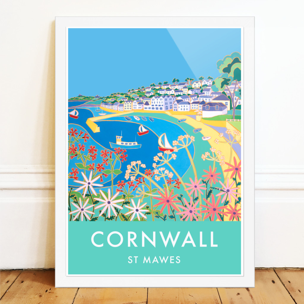 Vintage style travel art poster of St Mawes in Cornwall by Cornish artist Joanne Short.