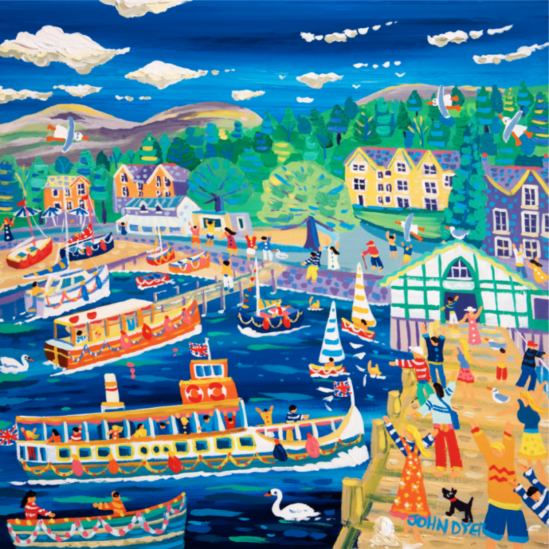 A feery docks at Ambleside pier in the Lake District in this stunnning John Dyer signed limited edition print. Full of colour, people, fun, pleasure boats and swans.