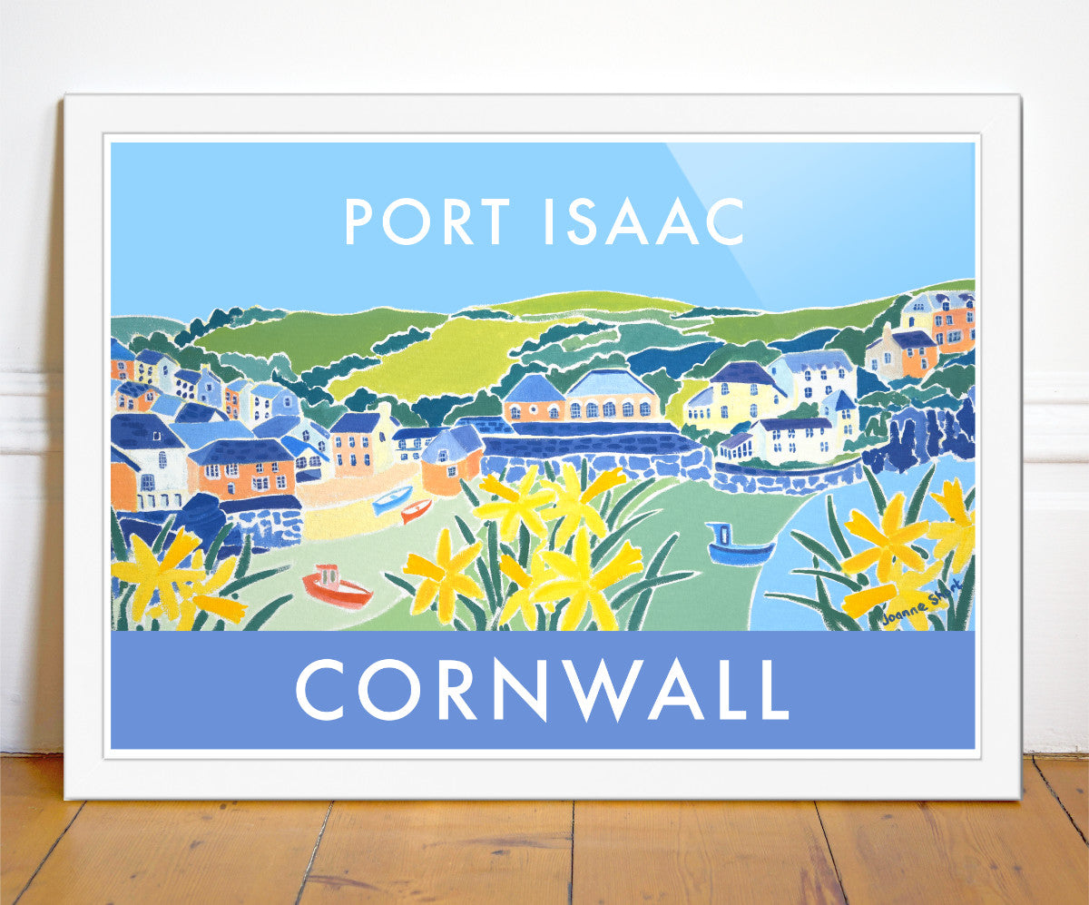 Vintage style art seaside travel pister of Port Isaac, otherwise known as Port Wenn, by Cornish artist Joanne Short. Port Isaac features in the Doc Martin TV series