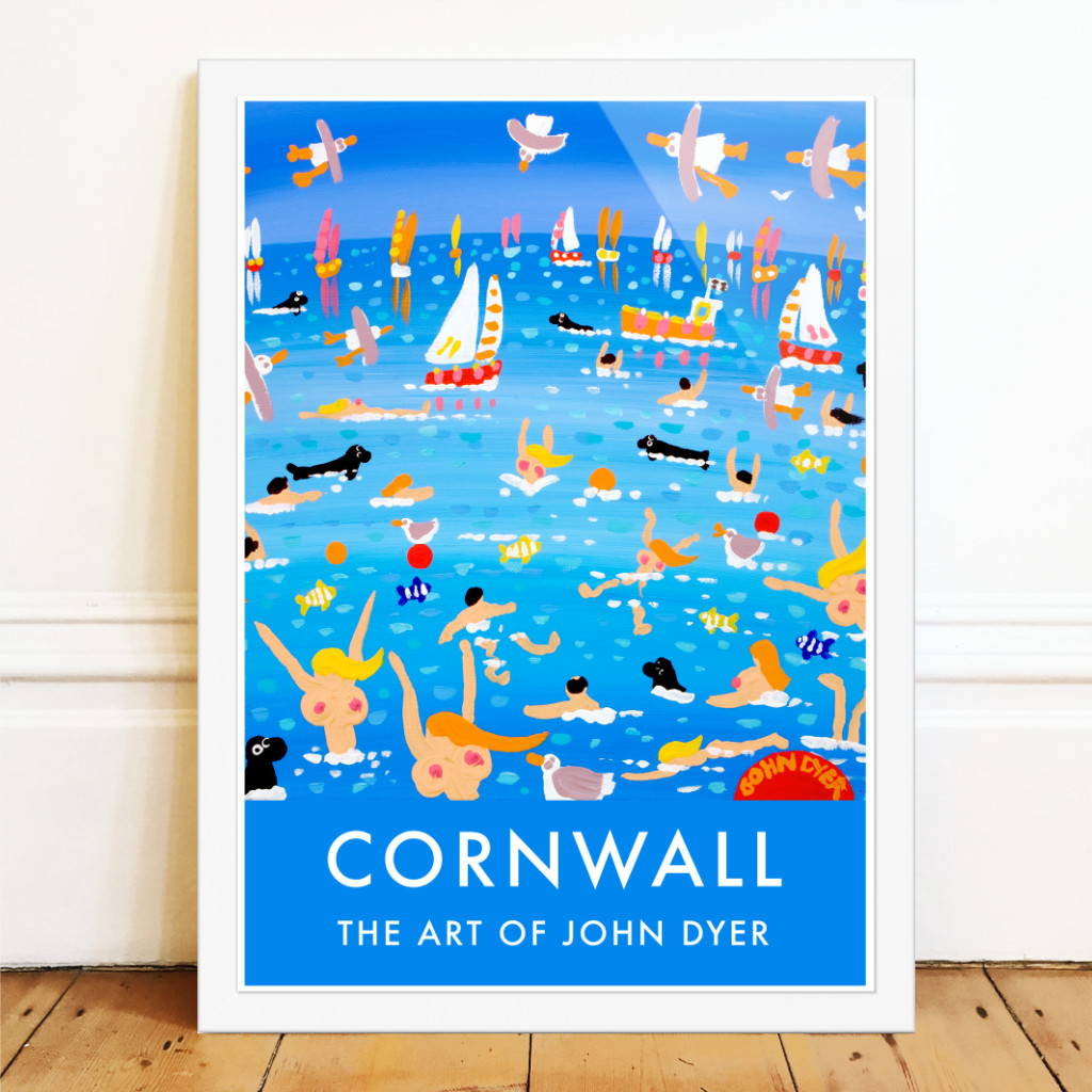 Cornish art poster by John Dyer featuring seagulls, boats, seals, topless swimmers.
