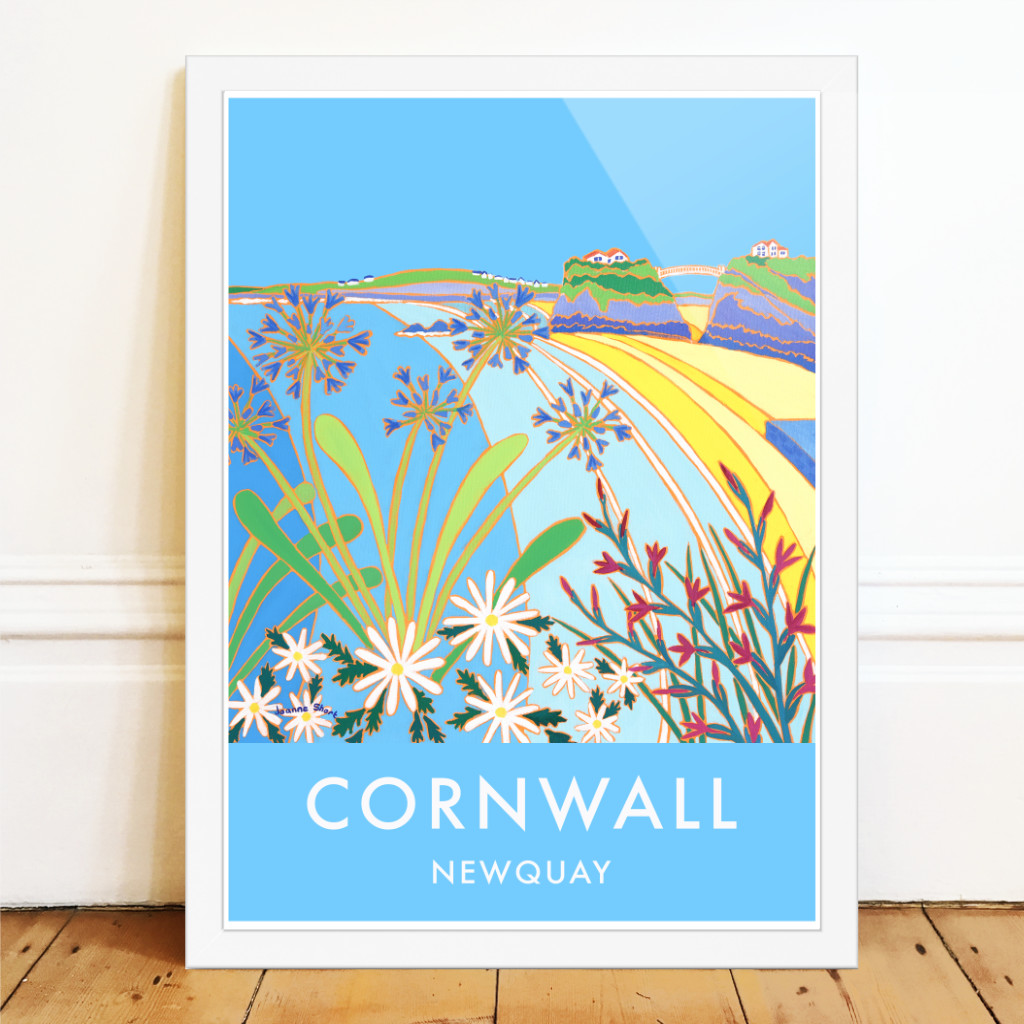 Towan Beach in Newquay with agapanthus flowers and sea by Cornish artist Joanne Short