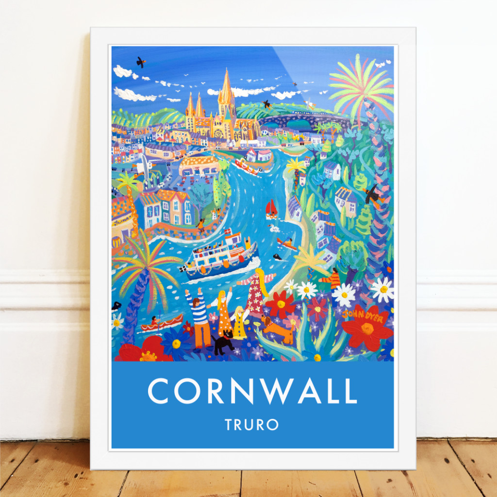 Art poster of Trueo by John Dyer. A ferry takes people to Truro along the river. A family with scotty dog and a sausage dog wave. Palms and flowers and the view is to Truro Cathedral
