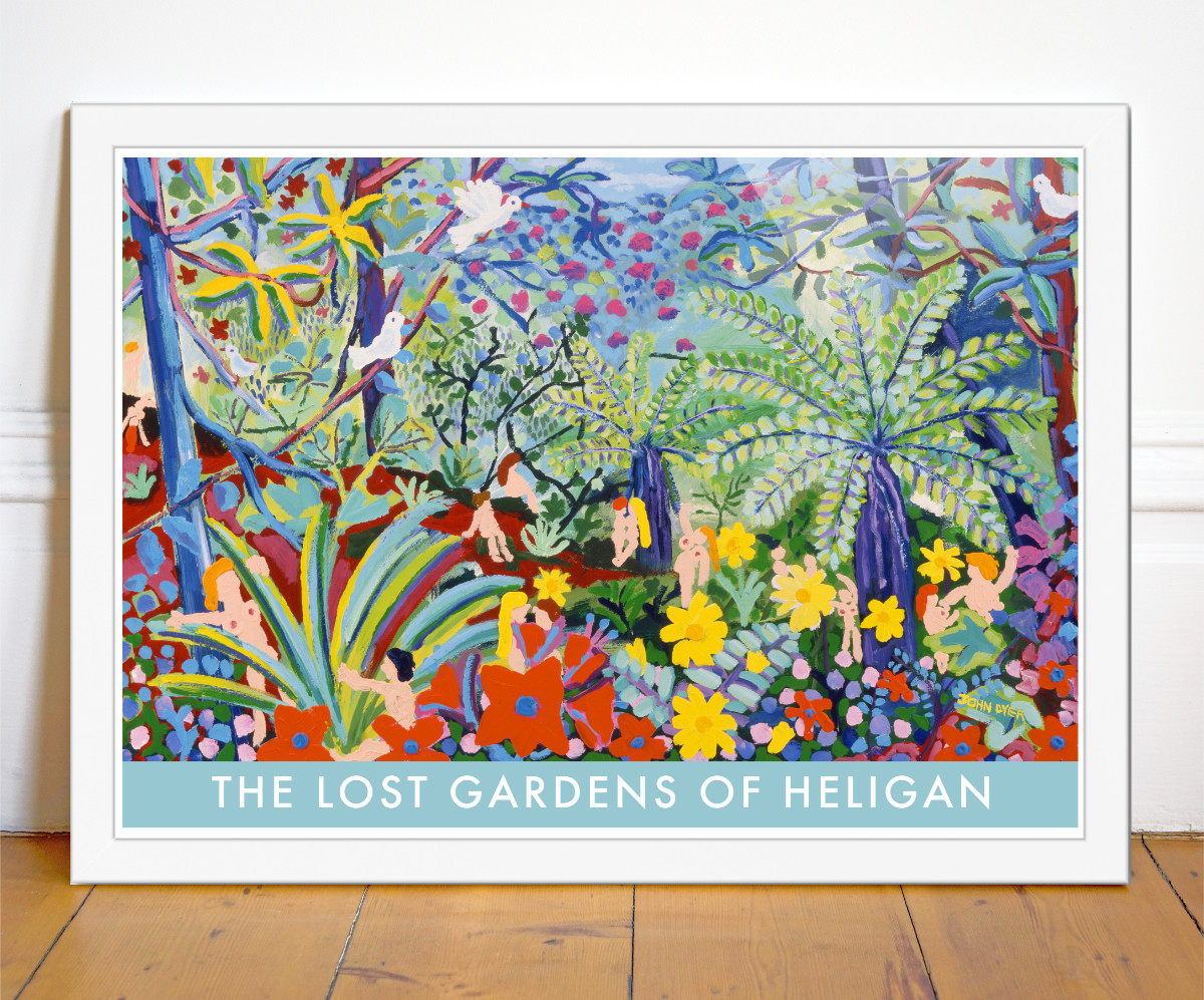 John Dyer art poster of the Jungle Garden at Heligan in Cornwall. Nightime