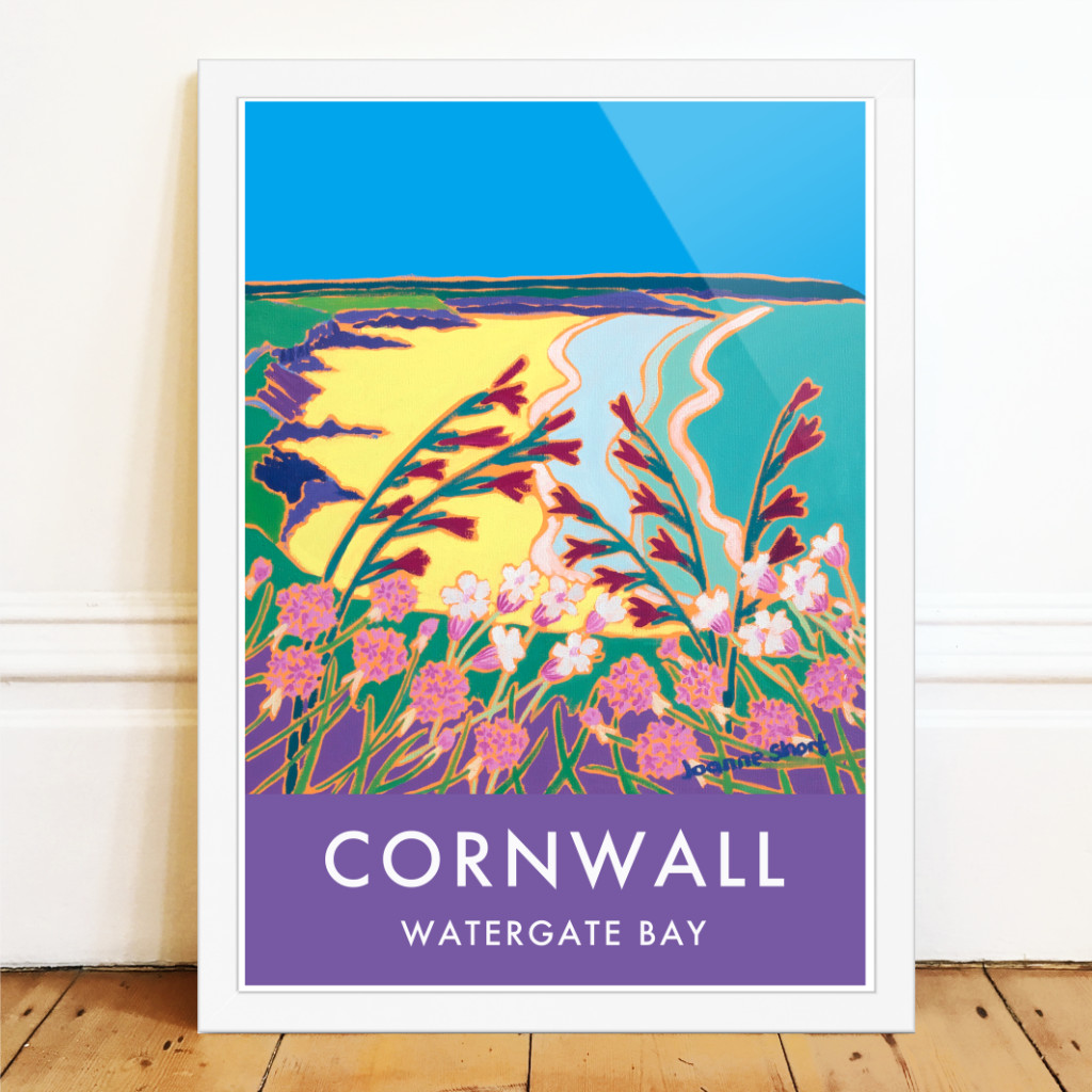 Art poster of the coast at Watergate Bay by Joanne Short with wild Cornish flowers on the cliffs
