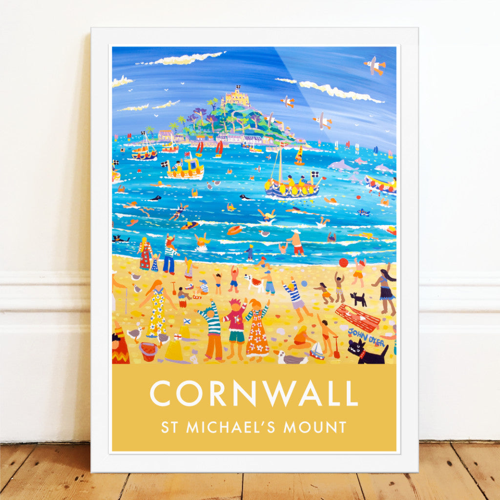 Travle style art poster print by artist John Dyer of the beach at St Michael's Mount. Dogs, childre, boats, swimmers, buckets and spades, dolphons, seagulls and more.