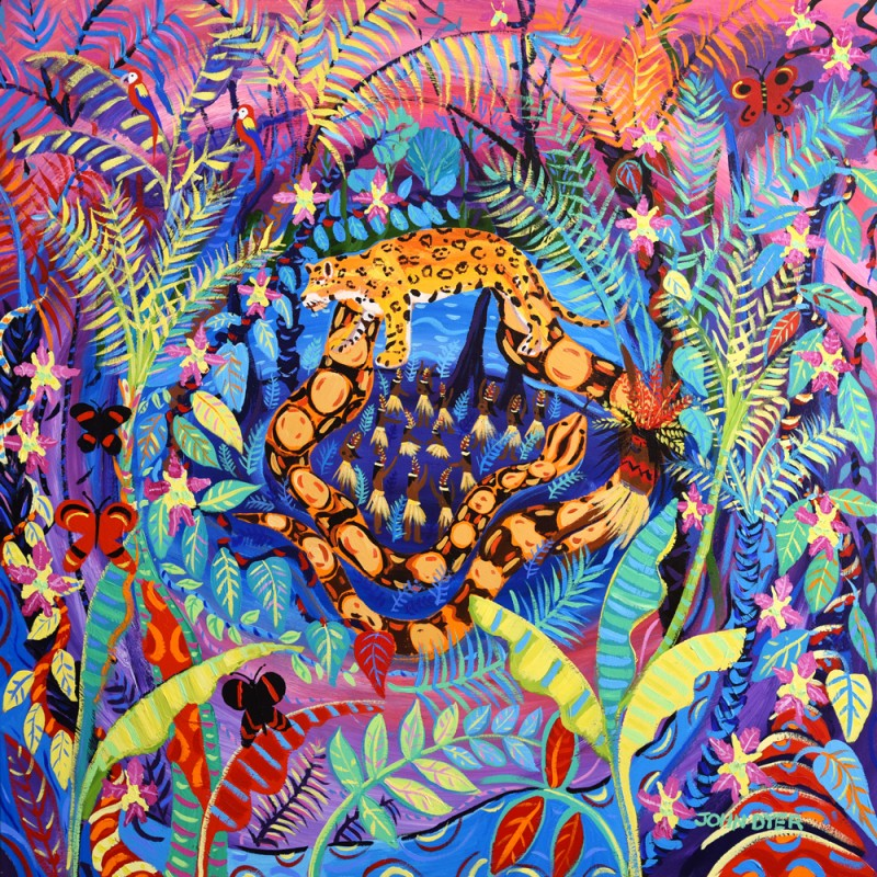 John Dyer limited edition print. Amazon rainforest Yawanawa tribal ceremony. Jaguar, boa constrictor, Ayahuasca flowers, jungle, rainforest
