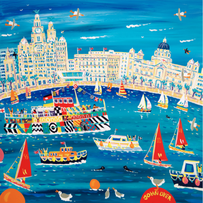 John Dyer art print of Liverpool with the Mersey Ferry, sailing boats, the Liver building and seagulls