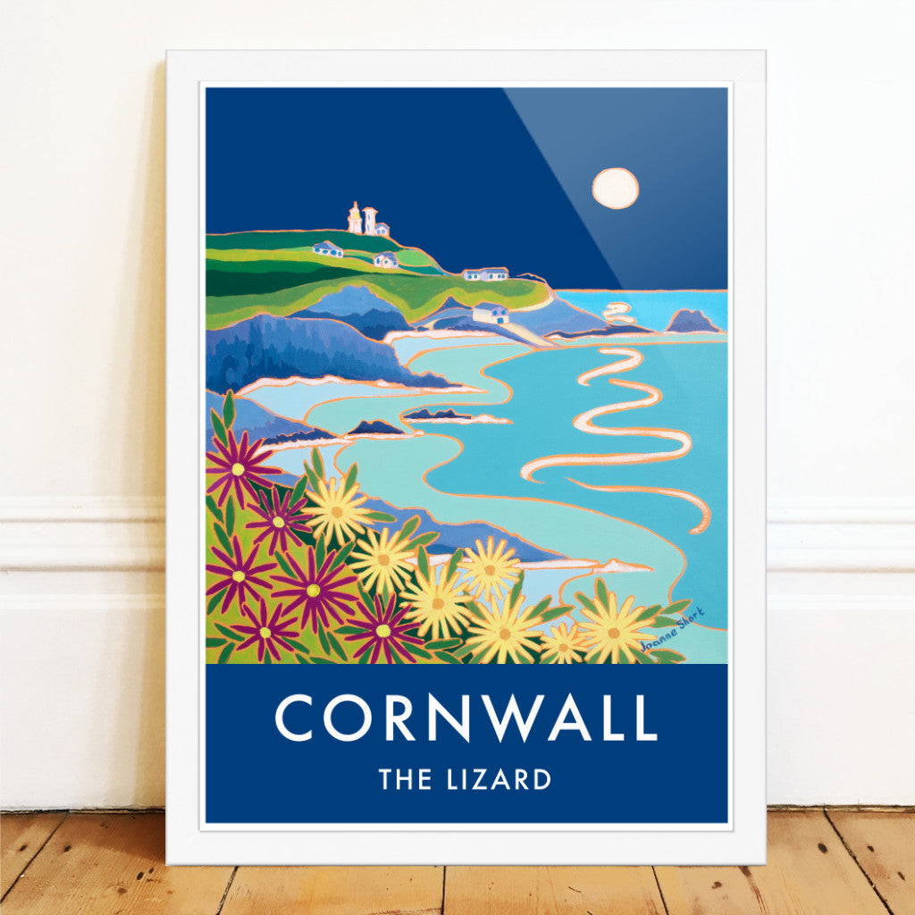Joanne Short art poster of the Lizard Lighthouse at night with the moon, Cornwall