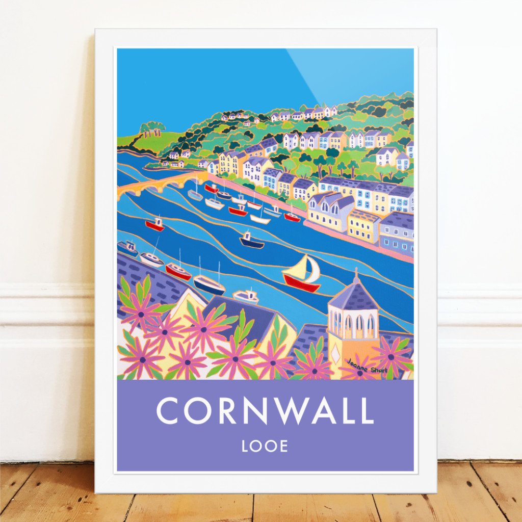 Joanne Short art poster of Looe and the riverin Cornwall.