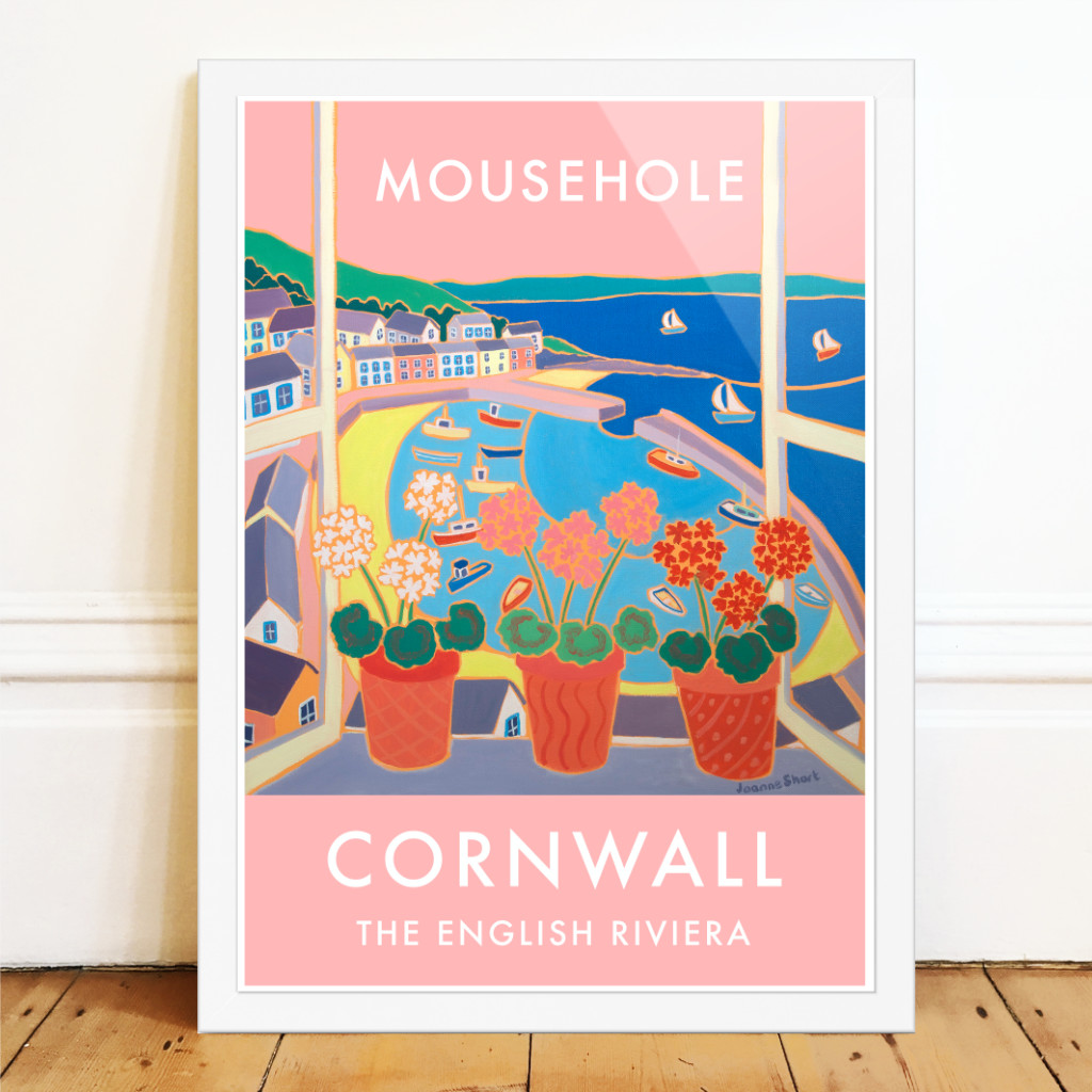 Art poster of Mousehole Harbour in Cornwall by Cornish artist Joanne Short. Pink design with red geraniums on a windowsill