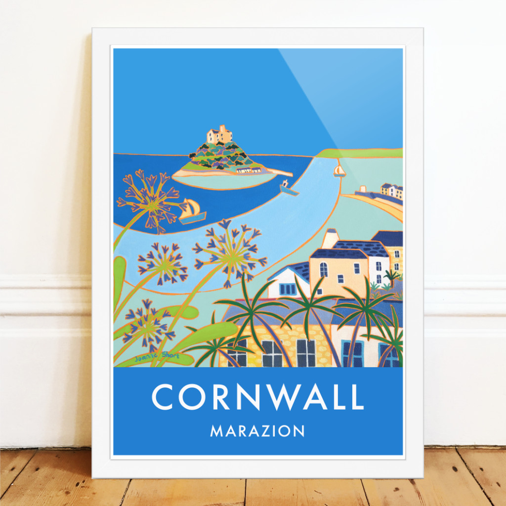 Joanne Short art poster of the Cornish town of Marazion with blue agapanthus and a view of St Michael's Mount