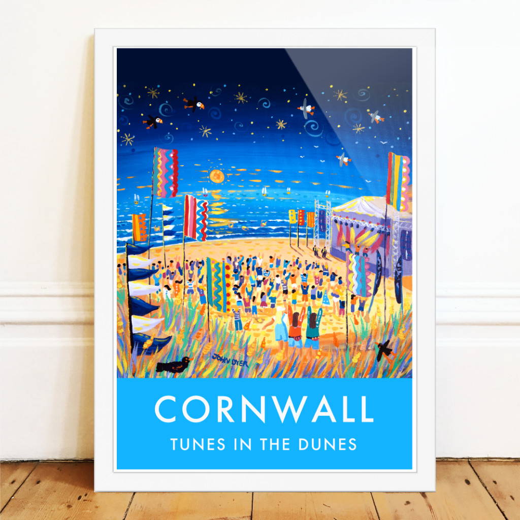 Perranporth beach in Cornwall Tunes in the Dunes music festical art poster by John Dyer. Flags, sunset, stars and seagulls.