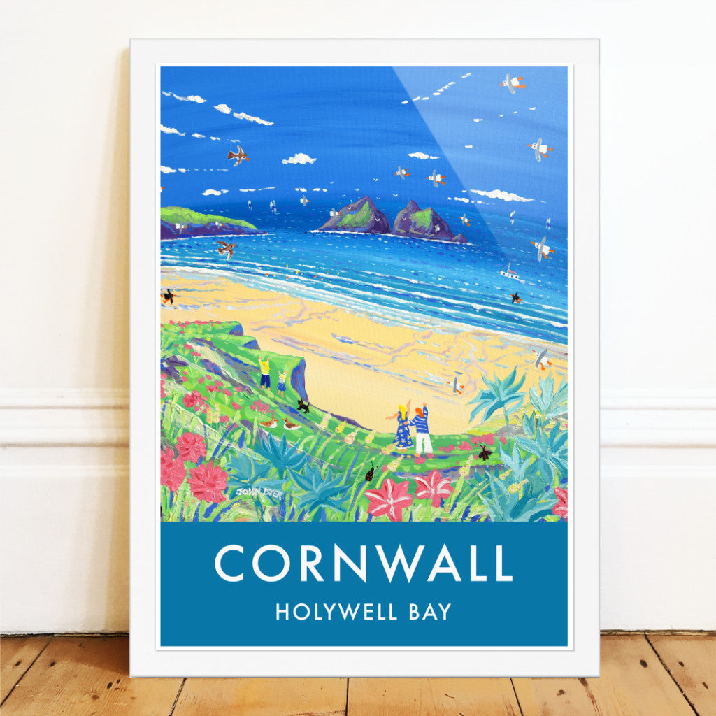 John Dyer art poster of Holywell Bay beach and Gull Rocks in Cornwall