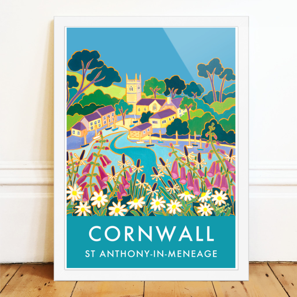 Art poster wall art of St Anthony-in-Meneage on the Helford in Cornwall by Cornish artist Joanne Short. Foxgloves and wild flowers