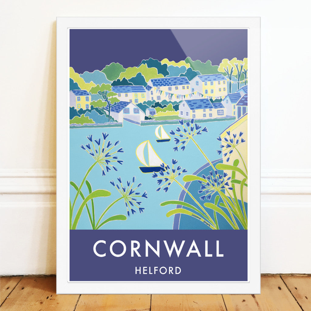 Joanne Short art poster of Helford in Cornwall. Agapanthus and a sailing boat.