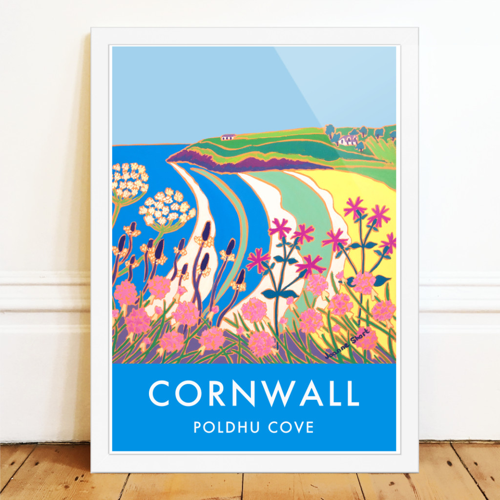 Vintage style art seaside travel poster of wild Cornish flowers on the cliffs at Poldhu Cove in Cornwall by artist Joanne Short.