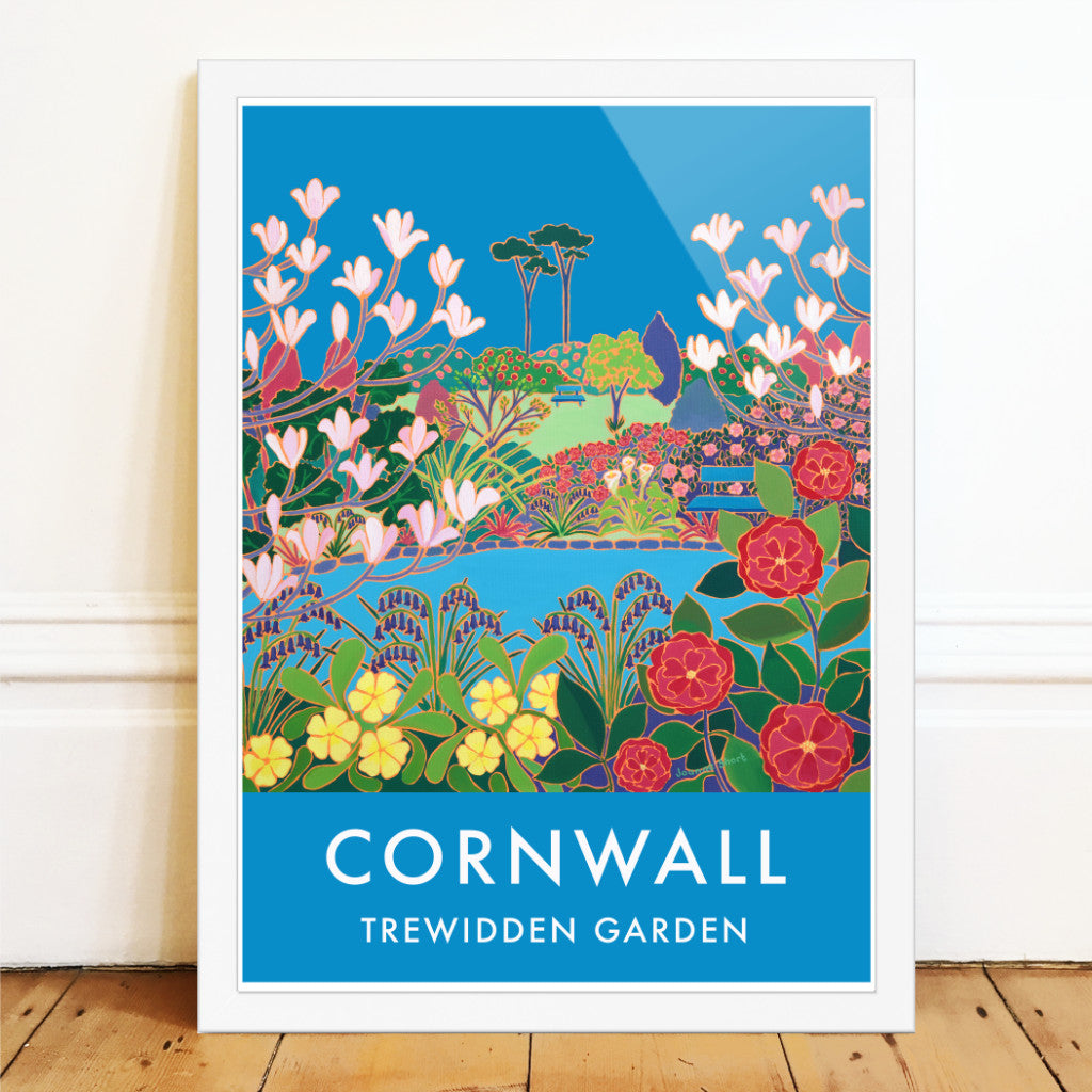 Trewidden Garden art poster by Joanne Short. Springtime in Cornwall with magnolia amd camilia flowers, primroses and bluebells