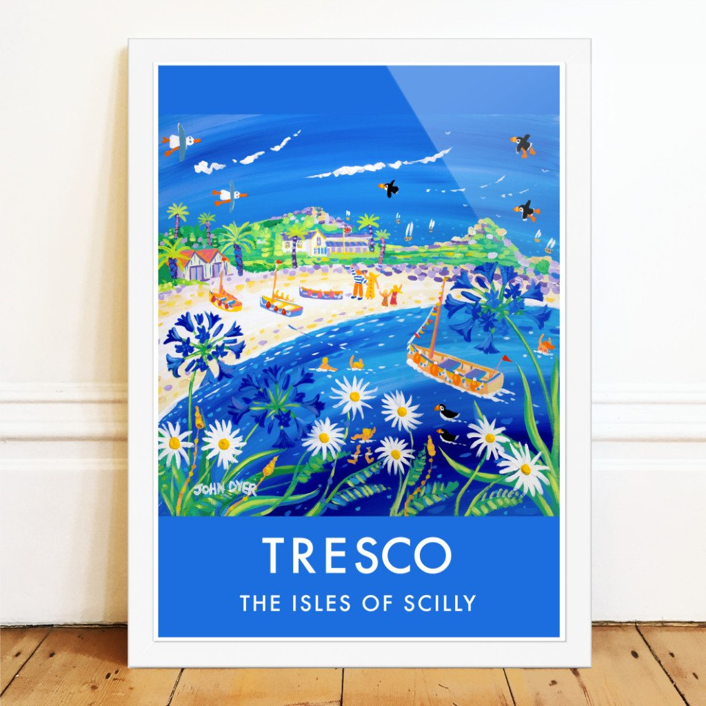 Art poster print by John Dyer of blue agapantus and white sand on the island of Tresco, Isles of Scilly with puffins and sailing baots