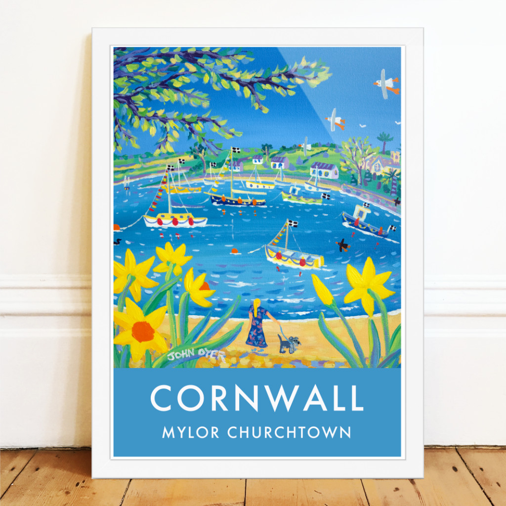 Mylor Yacht Harbour art poster by Cornish artist John Dyer. Dog walking and daffodils