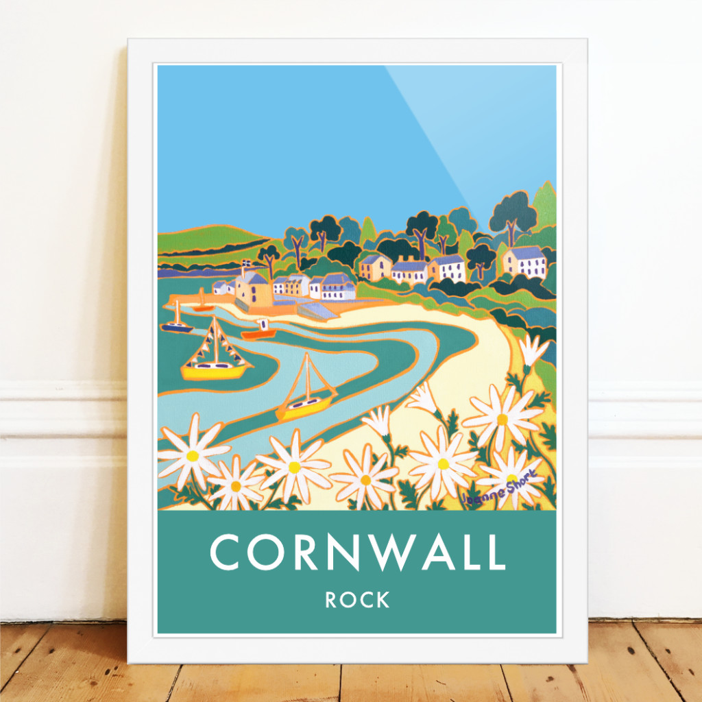 Art poster of the beach at Rock in Cornwall by artist Joanne Short