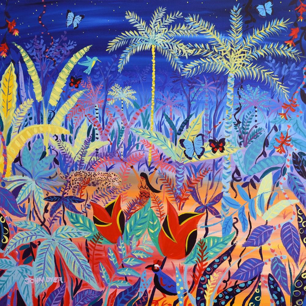 Artist John Dyer FRGS at work on his painting deep in the Amazon rainforest in Brazil with the Yawanawá tribe at Mutum.