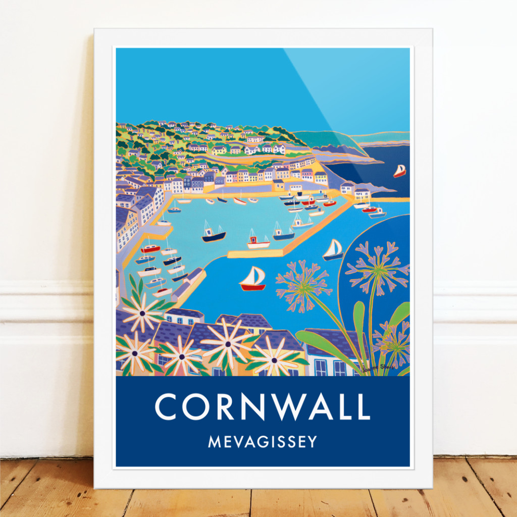 Joanne Short retro style art poster of Mevagissey in Cornwall with agapanthus, fishing boats and blue sea