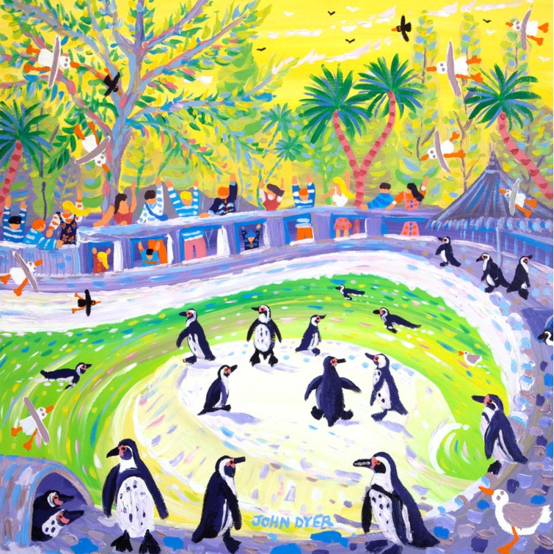 John Dyer signed print featuring penguins at the zoo. Humbolt penguins enjoy their penguin pool as excited families wave.