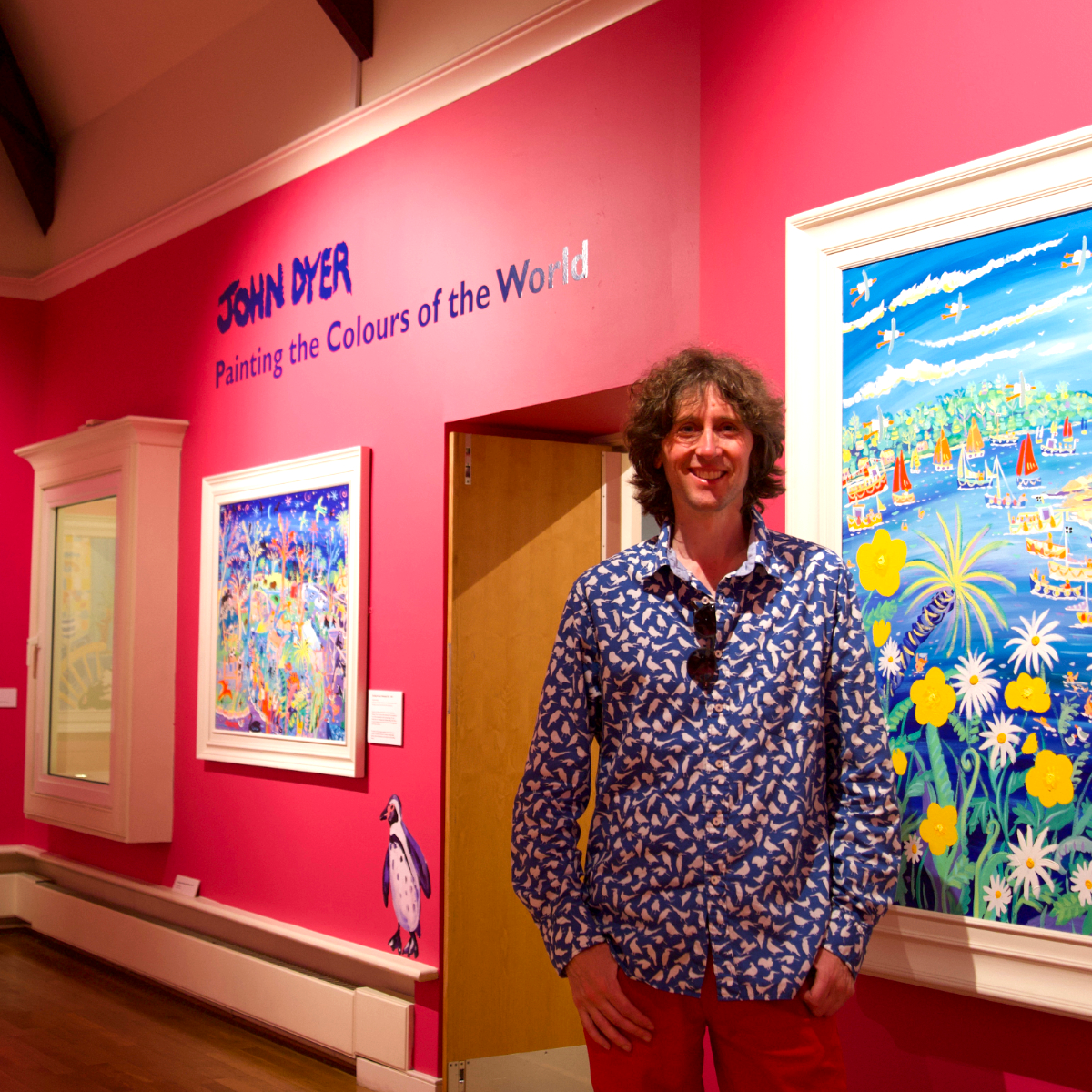 Cornwall's best loved artist, John Dyer, pictured at his 50th birthday retrospective exhibition in Falmouth Art Gallery in Cornwall