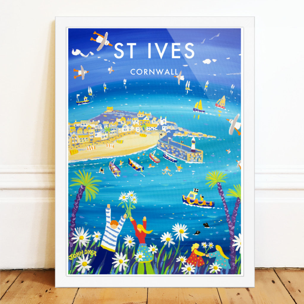 John Dyer art poster print of St Ives in Cornwall. A Family pick wild daisies and dance on the cliff top. Sailing boats and seagulls in the harbour