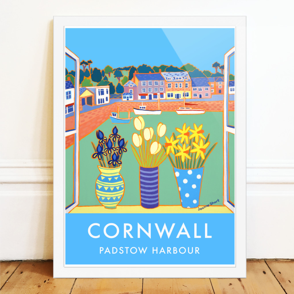 Padstwo Harbour art poster by Joanne Short. Irus, tulips and daffodils on the windowsill with fishing boats in the harbour