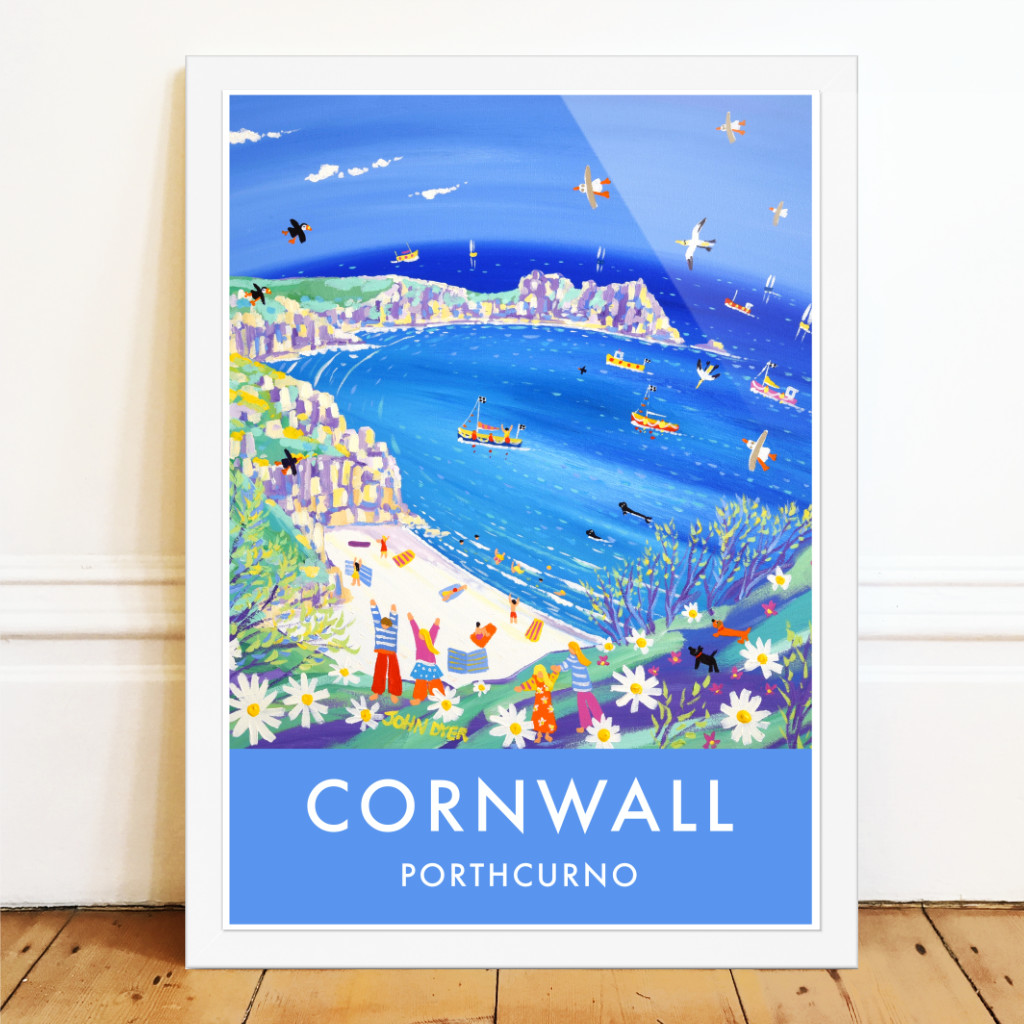 Vintage style seaside travel art poster by John Dyer of Porthcurno beach in Cornwall