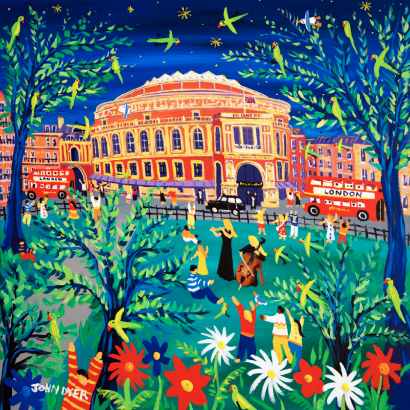 John Dyer signed limted edition print of the Roayl Albert Hall in Londin with flautist and cellist. red London bus, music, parrots and music