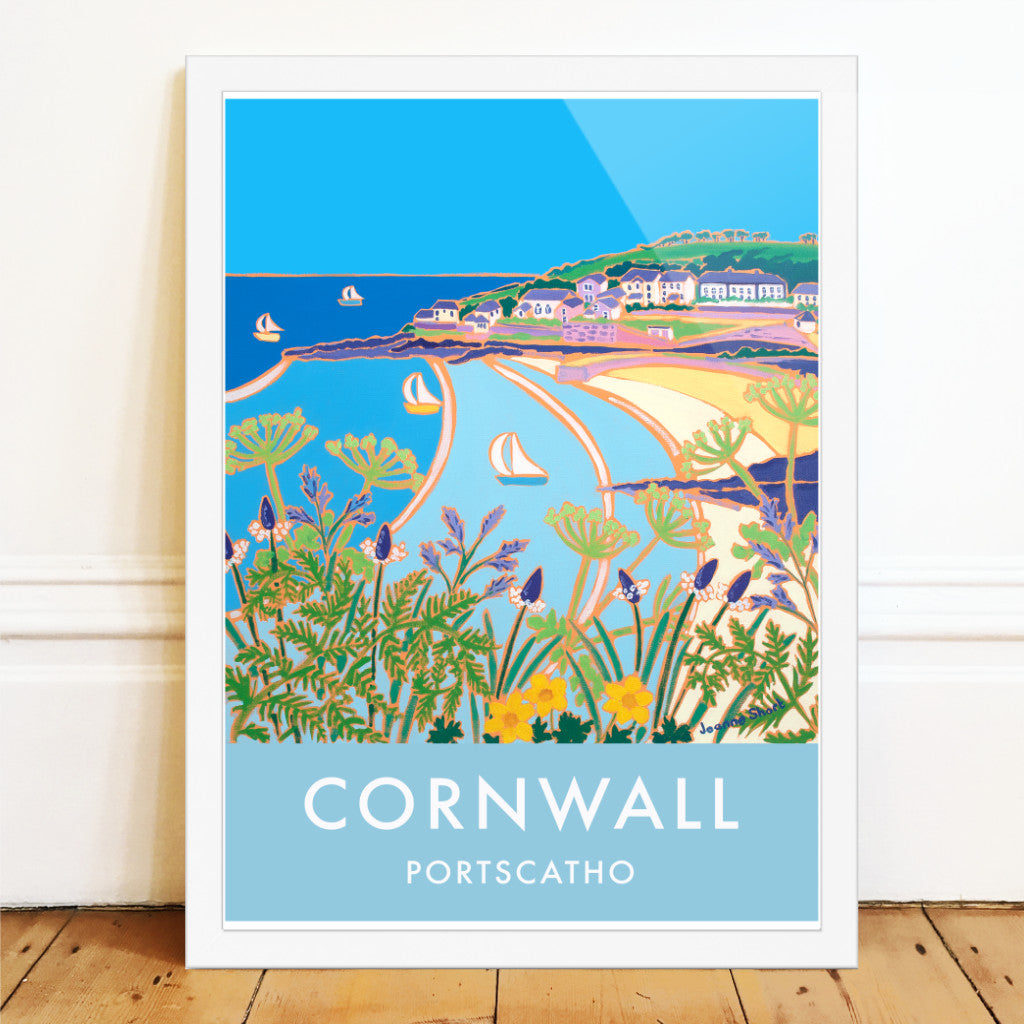 Vintage style travel art poster featuring the art of Joanne Short. Sailing boats and the beach at Portscatho