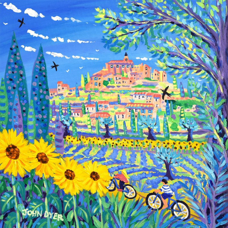 John Dyer signed limited edition print. Sunflowers and cyclists and bikes at Gordes in Provence, France