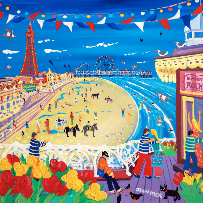 John Dyer signed limited edition print of Blackpool. A couple dance on the pier with the beach beyond with Blackpool tower and the pier. Flowers and bunting, donkeys and swimmers.