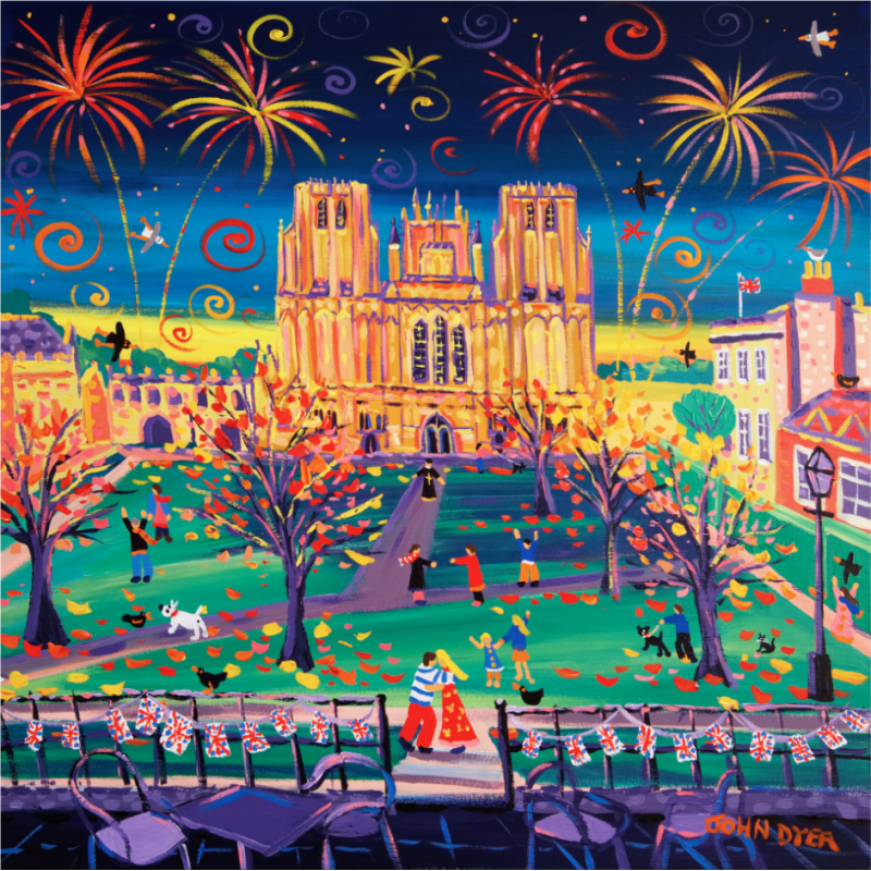 John Dyer signed limited edition print of Wells Cathedral in Somerset. Set at night with fireworks. A couple embrace and autumn leaves scatter onto Cathedral Green. Union Jack bunting decorates the cafe area of the Swan Hotel.